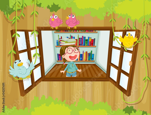 A girl with a book above her head near the window with birds