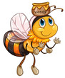 A bee flying with a pot of honey