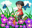 A boy biking in the garden with flowers and butterflies