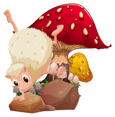 A molehog playing near the giant red mushroom