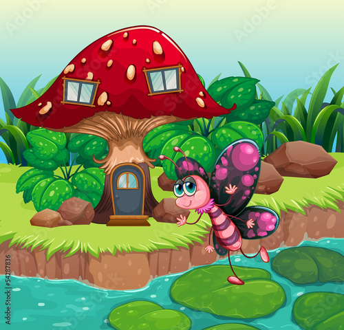 剪贴画创意创造力动物图像图形基层大的家岩石房子插图昆虫植物树荫