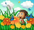 A boy catching butterflies at the flower garden