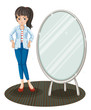A girl with a jacket standing beside a mirror