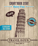 Vintage Italy Leaning Tower of Pisa travel vacation poster