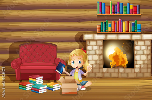 A girl fixing her books near the fireplace