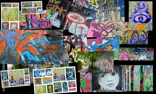 Deurstickers Graffiti collage collage...art urbain