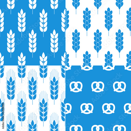 Set of 4 vector seamless pattern with grain rye blue
