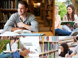 Collage of students reading books