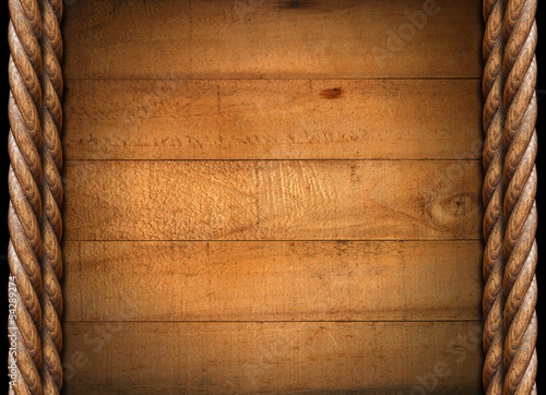 Old Grungy Wooden Boards and Ropes
