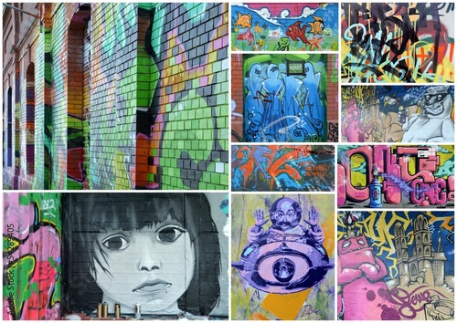 In de dag Graffiti collage collage...urban comtest