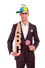 business man writing training concept abc bussiness