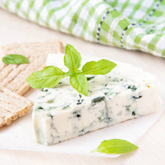 Blue cheese with a noble mould with diet bread and basil