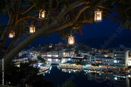 Aghios Nikolaos night cityscape, eastern Crete, Greece