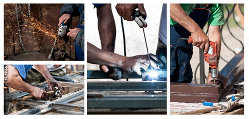 Photo collage of laborers working on constructions