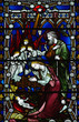 Birth of Jesus in stained glass. The Nativity.