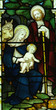 Nativity. Birth of Jesus in stained glass
