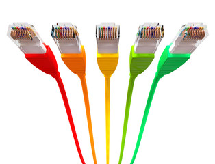 Ethernet Cables Unplugged Colors Pointing Forward Underneath