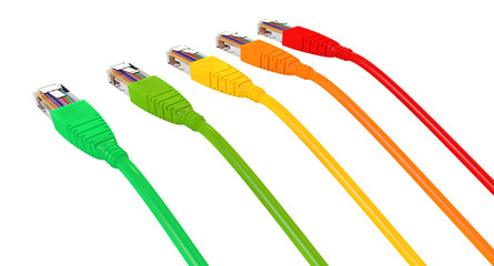Ethernet Cables Unplugged Colors Pointing Away