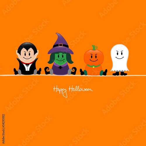 Halloween Dracula, Witch, Pumpkin & Ghost Orange