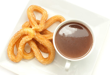 Spanish churros with hot chocolate