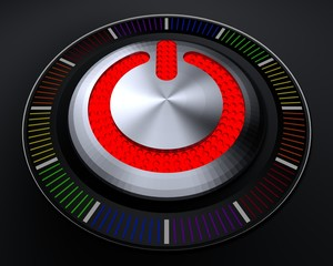STOP Button with Emitting LED on Black Background