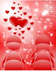 czerwone tło serca i para