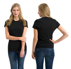 Female with blank black shirt and long hair