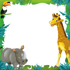 Cartoon safari - jungle - frame border template