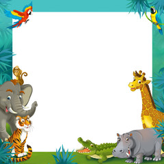 Cartoon safari - jungle - frame border template