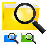 Magnifying Glass, Searching Folder Icon yellow, blue and green
