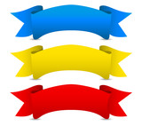 Blue yellow red Vector ribbons, Scroll banners. Medieval concept