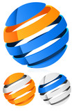 3d Spheres, globes with lines - Abstract 3d design element