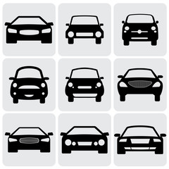 compact and luxury passenger car  icons(signs) front view- vecto