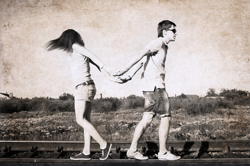 artwork in retro style, difficulties in relationships
