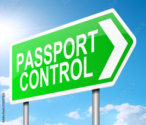 Passport control sign.