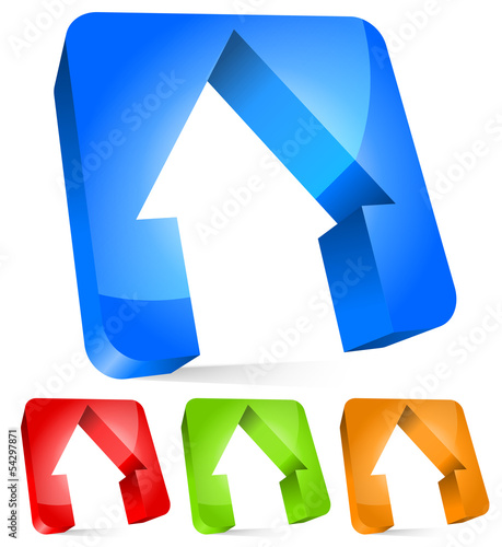 3d houses cut from rounded rectangles, house, home, real estate