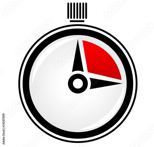 Simple and glossy stop watch, timer vector icon