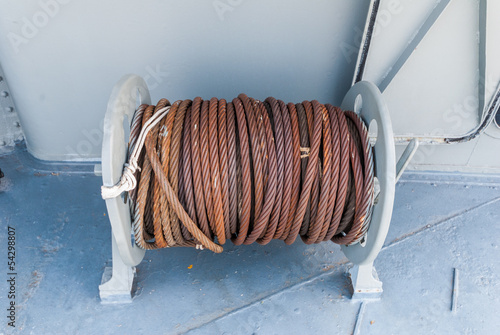 winch with rope on a battleship