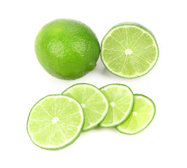 Fresh lime and slices.