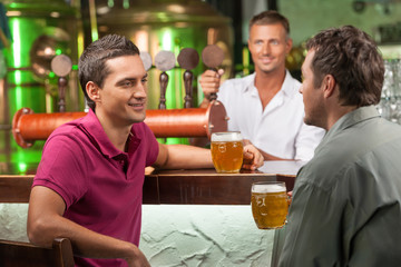 Talking at bar. Two cheerful male friends talking at bar and dri