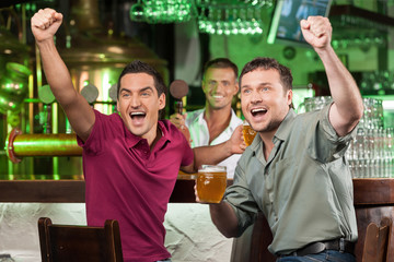 Soccer fans at the bar. Two happy football fans cheering at bar