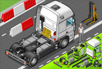 Isometric Tow Truck Only Cab in Rear View