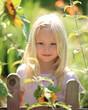 Mädchen am Gartenzaun