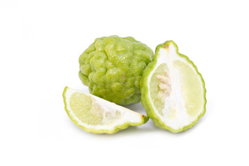 Kaffir lime isolated on white background.