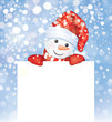Vector of fun snowman hiding by blank on snowfall background.