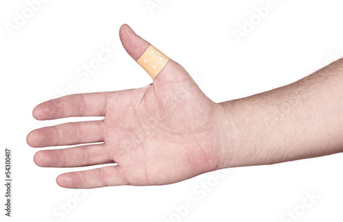 hands with band-aid adesive  plaster