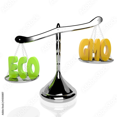 ECO vs GMO, ECO+, 3D rendered