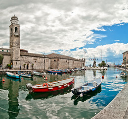 harbor of Lazise on eastern shore of Lake Garda