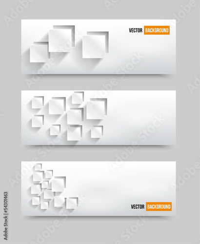 Vector Illustration With 3d squares banners