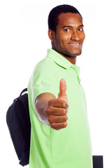 Smiling student thumbs up - isolated over a white background